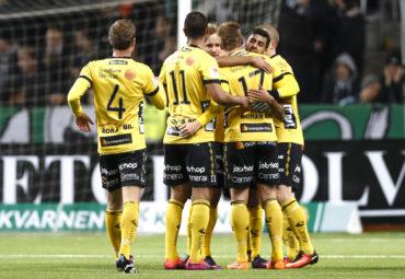 161023 Elfsborgs spelare jublar efter 0-2 av Per Frick under fotbollsmatchen i Allsvenskan mellan Hammarby och Elfsborg den 23 Oktober 2016 i Stockholm.  Foto: Andreas Sandström / BILDBYRÅN / Cop 104